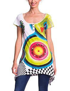 Desigual Women's Printed Short Sleeve Asymmetrical Tee Shirt, Blanco, Medium *** Want additional info? Click on the image.