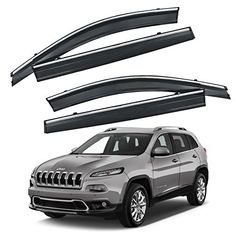 VXMOTOR 2014  Up Jeep Cherokee Chrome Trim Smoke Tinted Window Visor Rain Guard Defector -- Want to know more, click on the image.