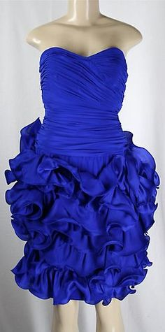 Marchesa Notte Dress Ruffle Corset Strapless Silk Electric Blue Sz 8 M | eBay