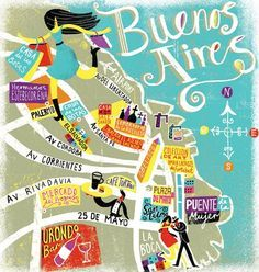 Buenos Aires Tourist Map | Travel illustrations by Migy | Art and design inspiration
