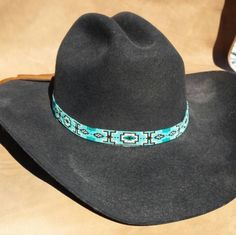Turquoise and Bronze Band Custom Beadwork Hand Beaded HatBand Native American Cowboy Hatband Cowboy Hat Bands, Cowgirl Hats, Leather Top Hat, Beaded Hat Bands, Native American Beadwork, Beaded Top, Loom Beading, Bead Caps, Bronze
