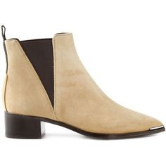 Acne Studios Jensen Ankle Boots ($602) ❤ liked on Polyvore featuring shoes, boots, ankle booties, acne, ankle boots, pointy toe booties, chunky ankle boots, short heel boots and beige ankle booties
