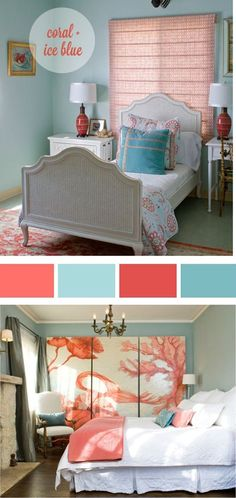Coral and blue.., love this for guest bedroom