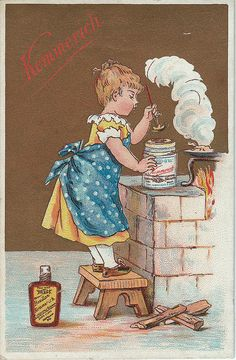 chromo kemmerich - girl trying to open tin of bouillon kemmerich Cordon Bleu, Painting, Art, Art Background, Painting Art, Kunst, Paintings, Performing Arts, Painted Canvas