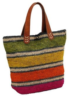 AM253 Fuchsia Combo Striped Handcrafted Raffia Bag Le Voyage en Panier