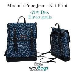 Consigue en waubags.com la Mochila Pepe Jeans Nat Print, ahora por tan solo 55€!!Con un compartimento principal y un bolsillo acolchado interior para llevar tu Tablet o Portátil de hasta 13″, dos correas ajustables y un asa de mano en la parte superior. @waubags #pepe #pepejeans #mochila #portaordenador #portatil #tablet #complementos #oferta #descuento #waubags