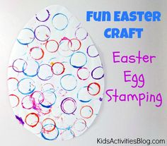 Make an Easter Egg {Fun Easter Craft for Preschool} - cute way to use plastic eggs for stamping fun!