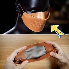 Diy Mask Discover Making A Leather Mask With Changeable Filter Making A Leather Mask With Changeable Filter Diy Leather Mask, Leather Tooling, Leather Craft, Leather Wallet, Easy Face Masks, Diy Face Mask, Mouth Mask Fashion, Leather Workshop, Leather Projects