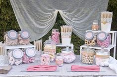 The candy cart was placed in the same room, with the most fairytale decoration e. The candy cart w Candy Bar Wedding, Wedding Sweets, Candy Bar Party, Deco Candy Bar, Candy Bar Comunion, Sweet Table Wedding, Buffet Wedding, Cake Pop Displays, Candy Display