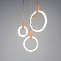 Modern Ring Wood Pendant Lights Nordic Loft Dining Room LED Pendant Lamps Living Room Stair Lighting Long Hanging Lamp Luminaire