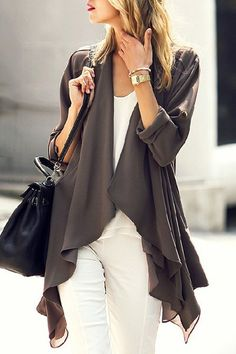 Casual Women's Long Sleeve Button Design Solid Color Asymmetric Length Cardigan