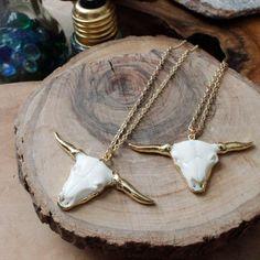 Longhorn Cattle Yak Bone Necklace/ Bull Cattle Horn by EwelinaPas