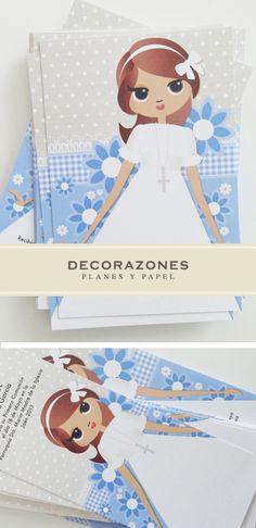 Recordatorio y marca libros de Primera comunión Communion Gifts, First Holy Communion, Holi, Teddy Bear, Scrapbook, Disney Princess, Creative, Party, Crafts