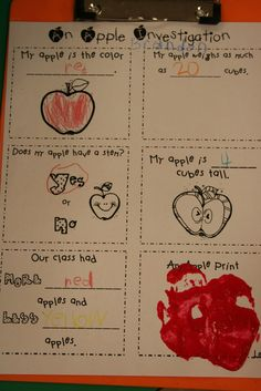 Apple Investigation plus a plethora of apple activities - perfect for beginning of the year and seasons integration! Preschool Apple Theme, Apple Activities, Fall Preschool, Preschool Ideas, Teaching Ideas, Preschool Apples, Preschool Alphabet, Preschool Worksheets, Ideas