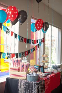 This PIRATE THEMED BIRTHDAY PARTY on www.KarasPartyIdeas.com is to die for. So many cute ideas! Love the polka dot balloons and pennant banner.