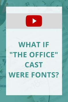 """Who doesn't love watching """"The Office""""? What if the cast were fonts? Watch to see!"""