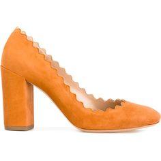 Chloé Lauren pumps (€565) ❤ liked on Polyvore featuring shoes, pumps, block heel court shoes, round toe pumps, round cap, round toe shoes and orange leather shoes