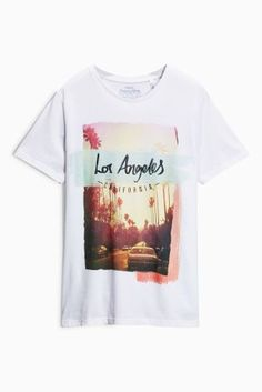 Buy White LA Graphic T-Shirt from the Next UK online shop