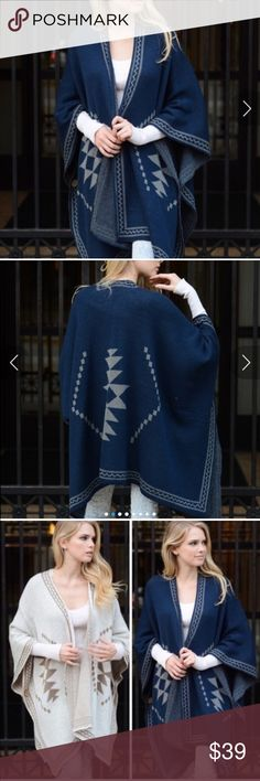Spotted while shopping on Poshmark: Chunky Knit Navy  Poncho! #poshmark #fashion #shopping #style #Vivacouture #Accessories