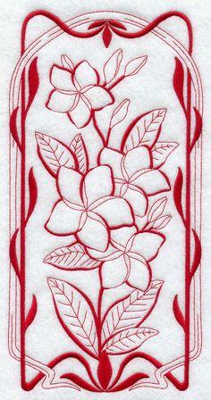 Art Nouveau Frangipani (Redwork)