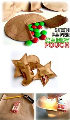"Trace and cut shapes from paper sack (2 per each Pouch). Fill pouches with candy, sew edges, and voila! Great for ""rip-apart"" advent calendars too."