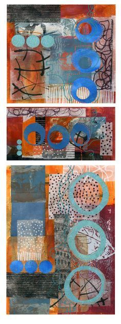 Michele Brown triptych acrylic and collage painting