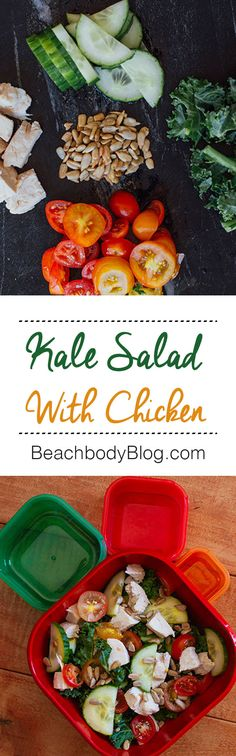Make this delicious kale salad with chicken using only 5 ingredients! #21dayfix #salads #recipes