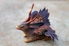 Winged Jackalope Sculpture Wolpertinger Rabbit Hare Bunny totem figurine Mascot Amulet gold purple dark.
