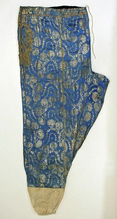 Late-Ottoman, from Turkey, early century. Length at CB: 137 cm. (Met Museum, N. Turkish Fashion, Ethnic Fashion, Trousers Women, Pants For Women, Middle Eastern Clothing, Baroque Dress, Designer Party Wear Dresses, Fashion Portfolio, Tribal Fusion