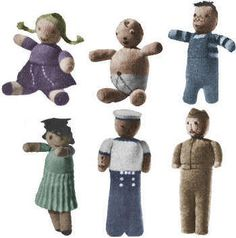 Six Dolls from One Pattern Vintage Knitting Pattern to download