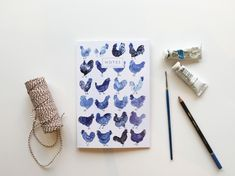 Feeling Clucky Hens A5 Notebook A5 Notebook, Lined Page, Belly Bands, Hens, Watercolor Illustration, Card Stock, Envelope, Blue And White, Feelings