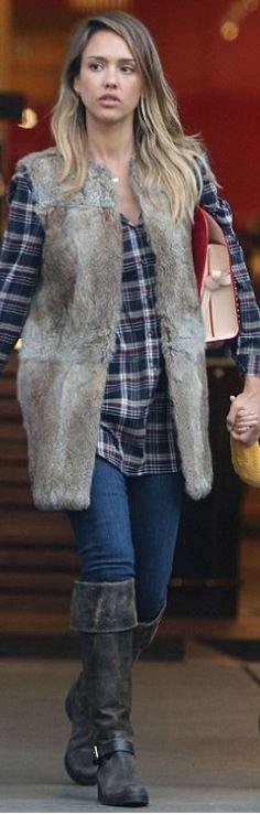 Who made  Jessica Alba's brown studded handbag and blue plaid shirt?