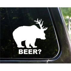 Bear + Deer = BEER! Love this symbol so much after we got Andrew his T-shirt of it. Need this for our car for sure!