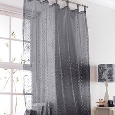 Popsicle Single Voile Curtain Black