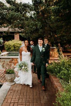 Walking out as Mr. at their Texas garden wedding. Venue: Clark Gardens' Channel Gardens Photo Credit: The Burrow Clark Gardens, The Burrow, Texas Gardening, Garden Photos, Garden Wedding, Photo Credit, Wedding Ceremony, Channel, Walking