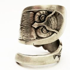 Hand crafted Owl Ring Spoon Ring with Owl Sterling Silver by Spoonier on Etsy