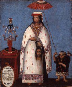 Inca Noblewoman (Gran Nusta Mama Occollo), Cuzco, Peru, early oil on canvas mounted on board. Denver Art Museum, gift of Dr. Colonial Art, Spanish Colonial, Chef D Oeuvre, Oeuvre D'art, Museum Of Fine Arts, Art Museum, Art Péruvien, Peruvian Art, Inca Empire