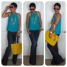 Dark Wide Leg Jeans Teal Balloon Hem Top as modeled by Mimi G x Fashion Casual, Look Fashion, Casual Chic, Casual Wear, Girl Fashion, Casual Outfits, Cute Outfits, Fashion Outfits, Womens Fashion