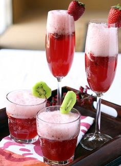 """via @FabFitFun    """"Doesn't this Strawberry Champagne Punch look so yummy and pretty? It's so simple!!     1 liter sparkling champagne  1¼ cups fruit punch  1¼ cups ginger ale  1¼ cups orange juice  1 pint fresh strawberries  1 pint raspberry sherbet  1 pint vanilla ice cream"""""""