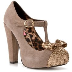 Betsey Johnson Poppie Pump - Taupe (3.295 RUB) ❤ liked on Polyvore featuring shoes, pumps, heels, betsey johnson, high heels, test category, t bar shoes, high heel shoes, bow shoes and taupe shoes