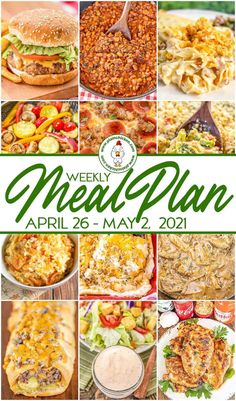 What's for dinner? Weekly Meal Plan with a quick and easy recipe for every night of the week! Main dishes, side dishes, and dessert! Potluck Recipes, Dinner Recipes, Cooking Recipes, Plain Chicken Recipe, Chicken Recipes, Easy Meal Plans, Quick Easy Meals, Marinated Grilled Vegetables, Budget Meal Planning