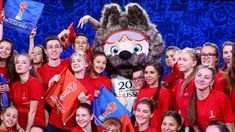 Volunters pose with Zabivaka, the Official Mascot for the 2018 FIFA World Cup
