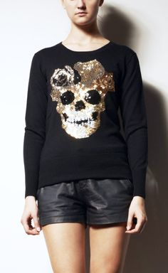 INSPIRATIONAL IMAGE: Markus Lupfer Black And Gold Knit Top