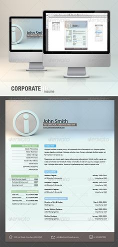 Corporate HD Resume — InDesign INDD #application #professional • Available here → https://graphicriver.net/item/corporate-hd-resume/133594?ref=pxcr