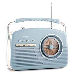 oneConcept NR-12 tragbares Retro Kofferradio Vintage Küchenradio analog (UKW-Radio, analog, 50er Jahre Retro-Look, Batterie- und Netz-Betrieb) blau