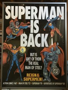 This is a custom framed promo poster for DC Comics 'Reign Of The Supermen' story line from 1993. It featured art and story from Gerard Jones, Dan Jurgens, Karl Kesel, Jerry Ordway, Louise Simonson and Roger Stern.