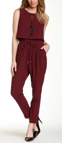 Classic jumpsuit in this year's pantone, Marsala.