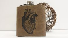 6 oz leather hip flask hand-print free customization by inblue