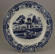 Antique Pottery Pearlware Blue Transfer Bovey Tracey Pagoda & Swan Plate 1801