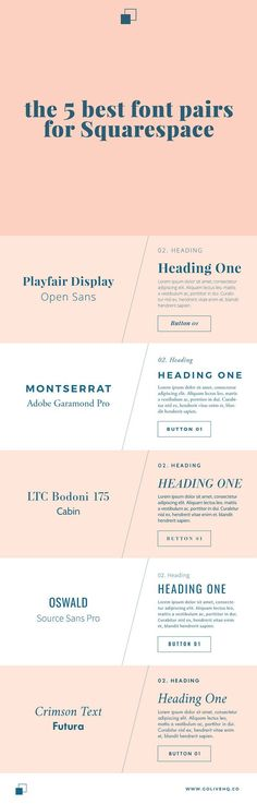 5 best font pairs for Squarespace by http://www.golivehq.co